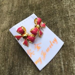 ❤️Pink-gold Ties Bow stud earrings (NWT)